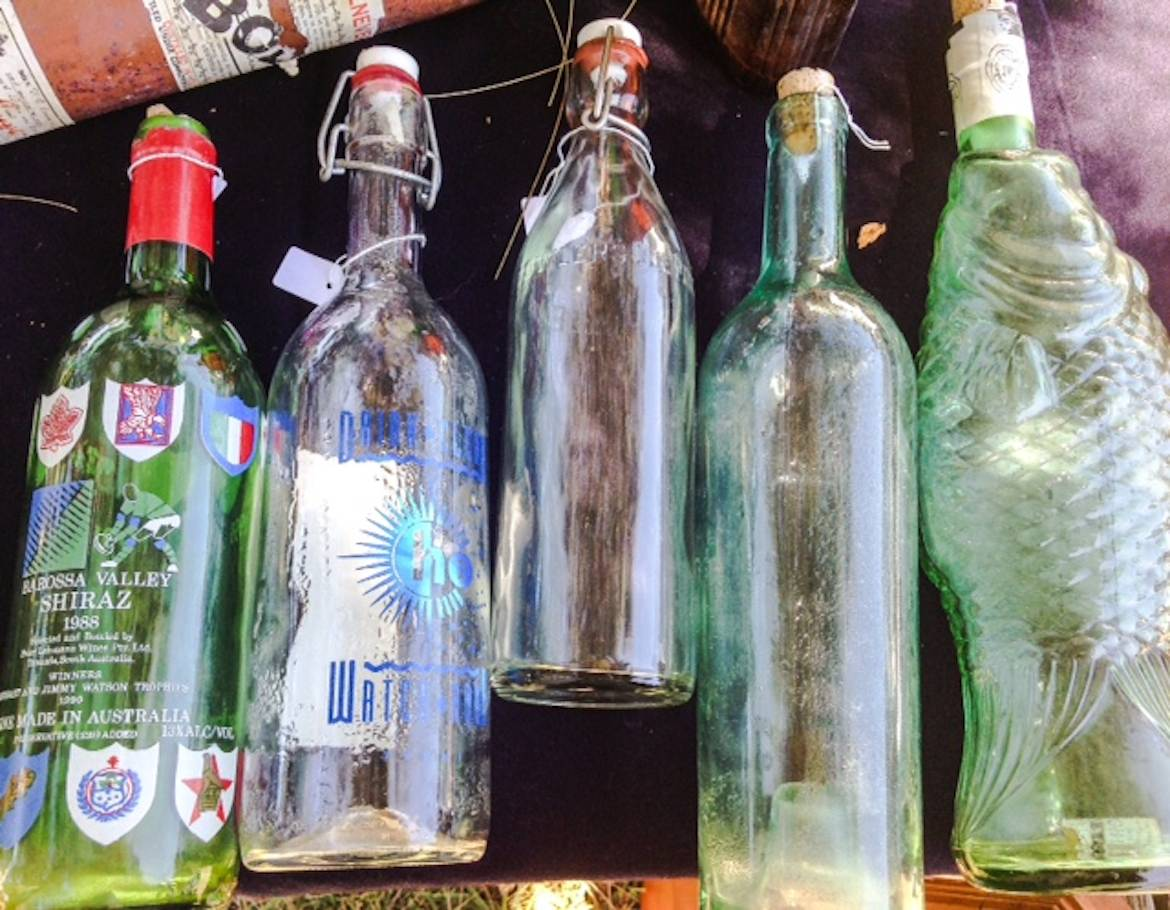 Recycled bottles at Terrigal Antique Vintage Fair