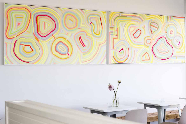 Evie Adasal's art works at Avoca Surf House. Photo: Lisa Haymes