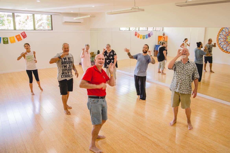 Laughter yoga at Modern Organic, Long Jetty