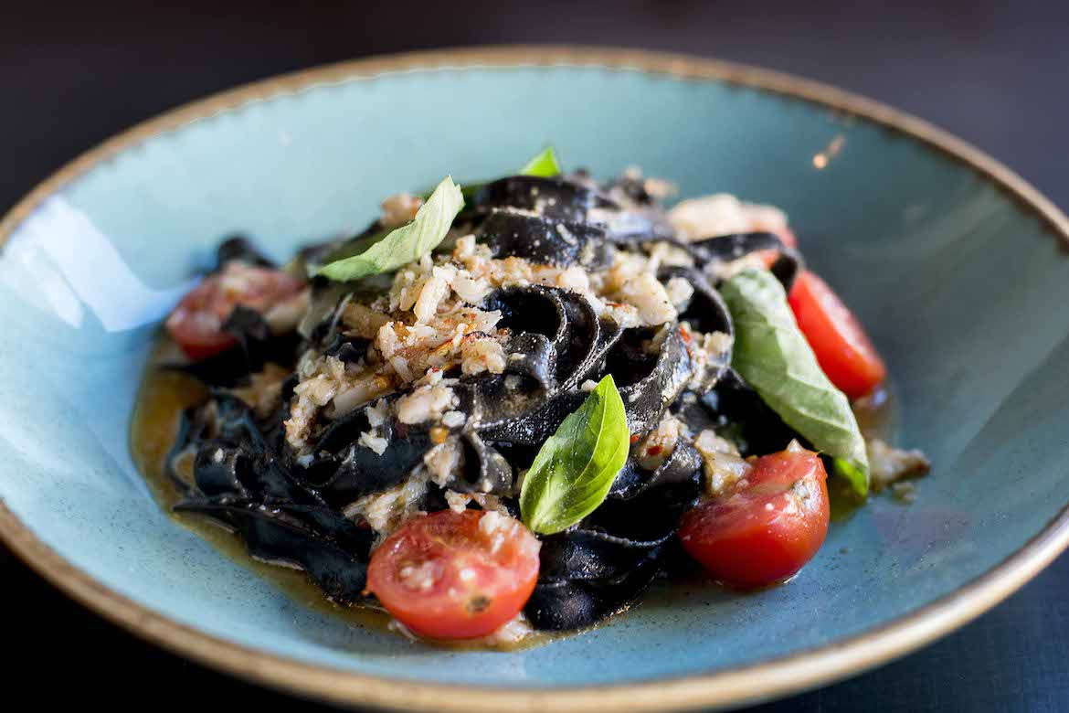 Squid ink fettuccine at Rhonda's Bar, Terrigal. Photo: Lisa Haymes